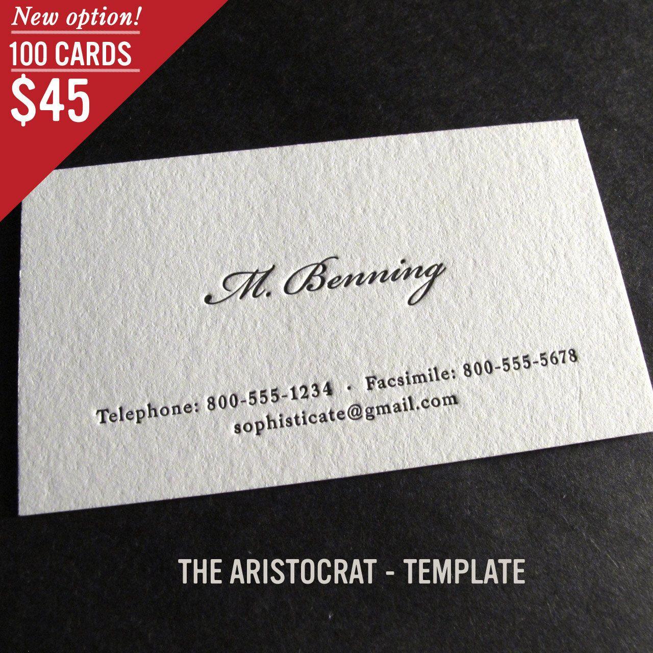 100 Custom Letterpress Business Cards - The Aristocrat ...