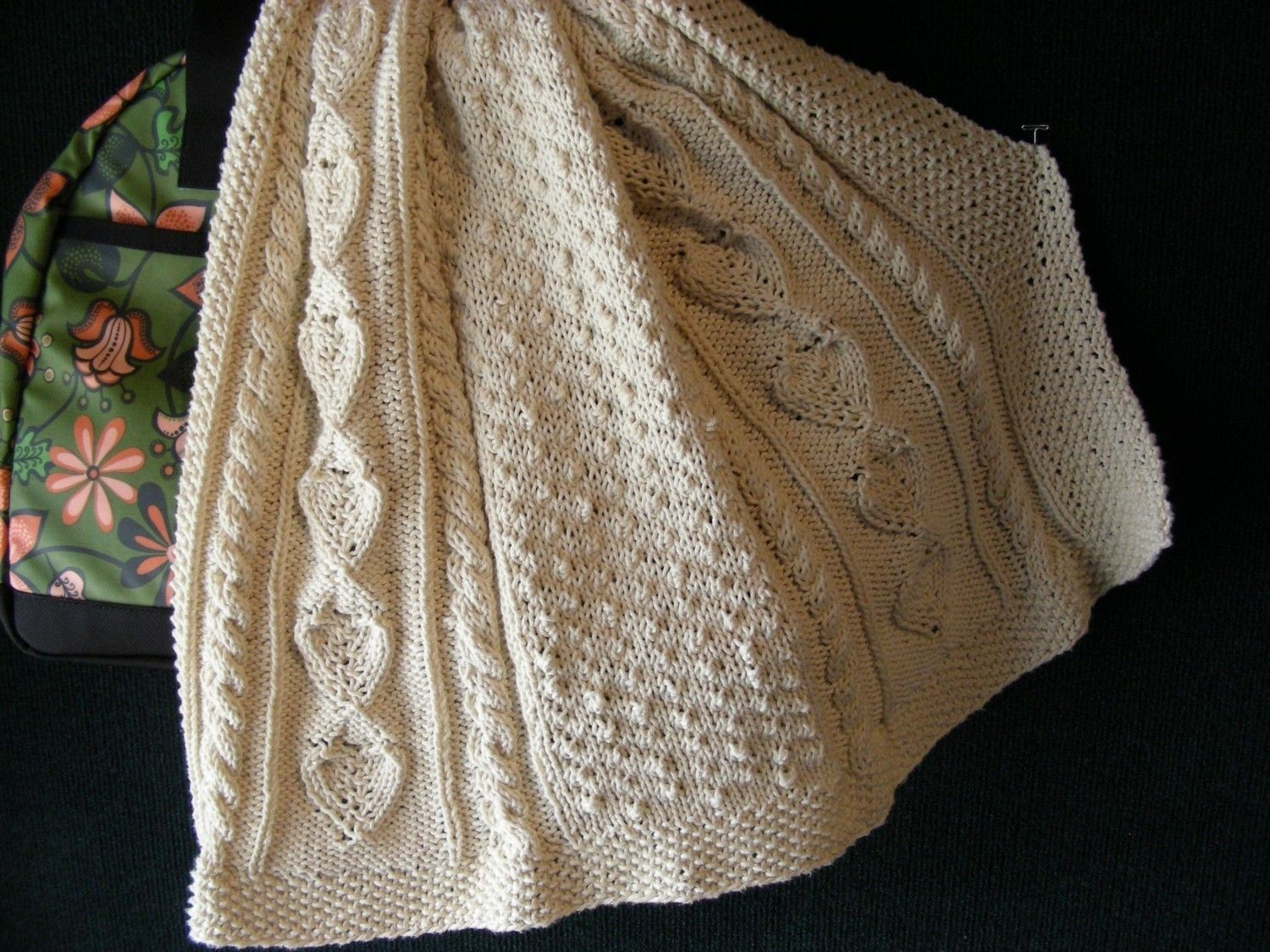 Knitting Pattern Aran Baby Blanket Afghan Heirloom Cable Moss Stitch ...