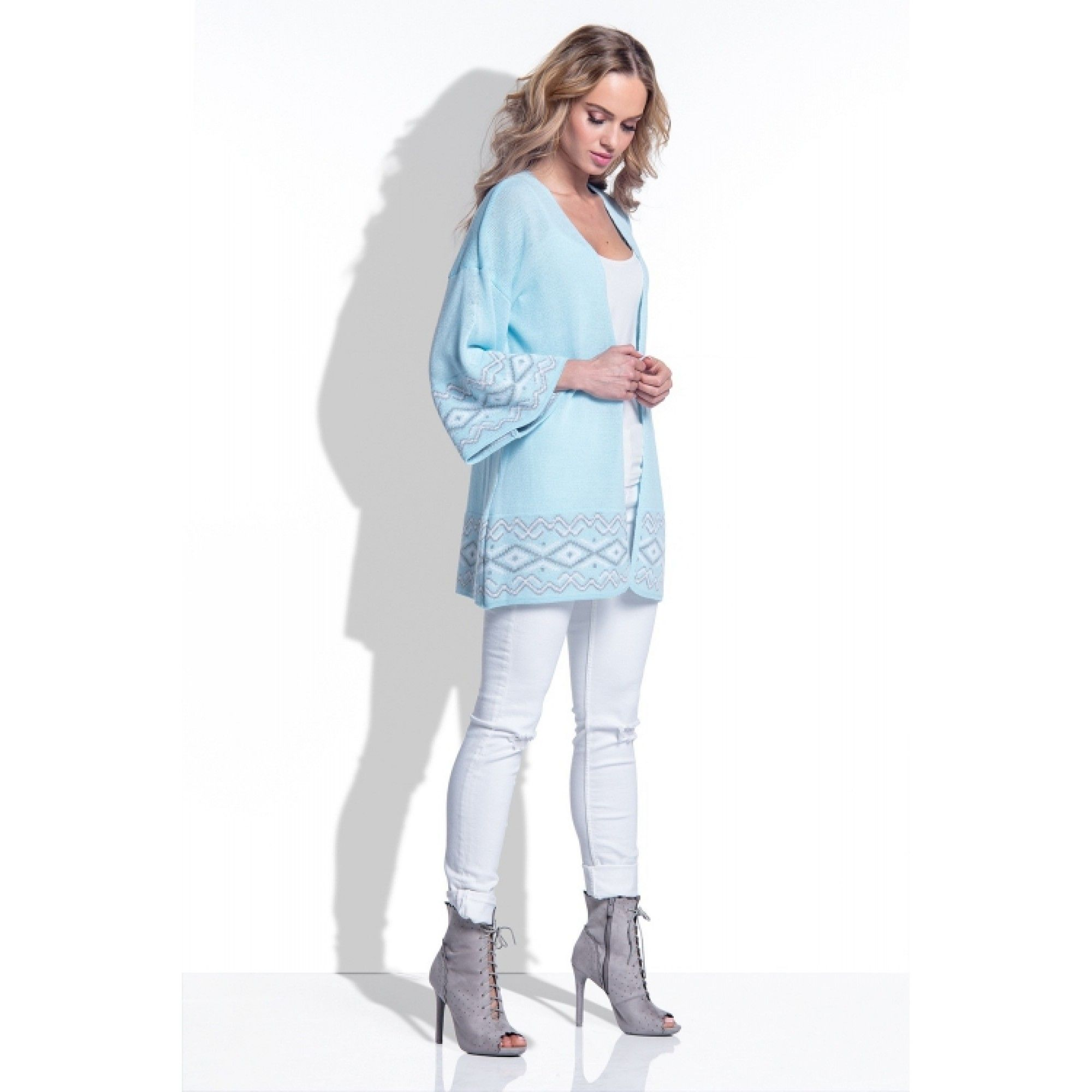 Cardigan de dama model jacquard cu maneci largi sky blue