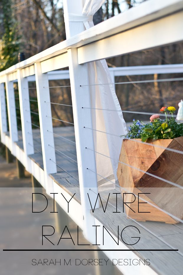 Hey Everyone Today I M Sharing Our Diy Wire Railing Originally Shown On Our Home Depot Patio Style Challenge Reveal W Diy Deck Building A Deck Patio Design