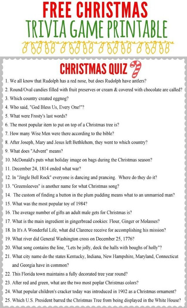 Christmas Trivia Game Christmas trivia games, Christmas