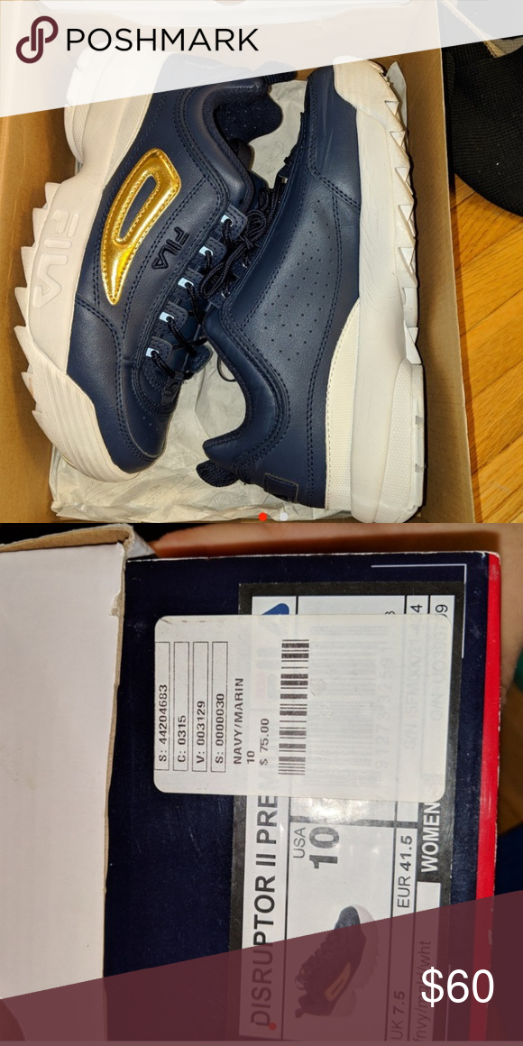 7c90cec7e20 FILA DISRUPTORS WOMENS 10 NAVY BLUE//GOLD FILA DISRUPTORS NAVY BLUE  SNEAKER, WHITE