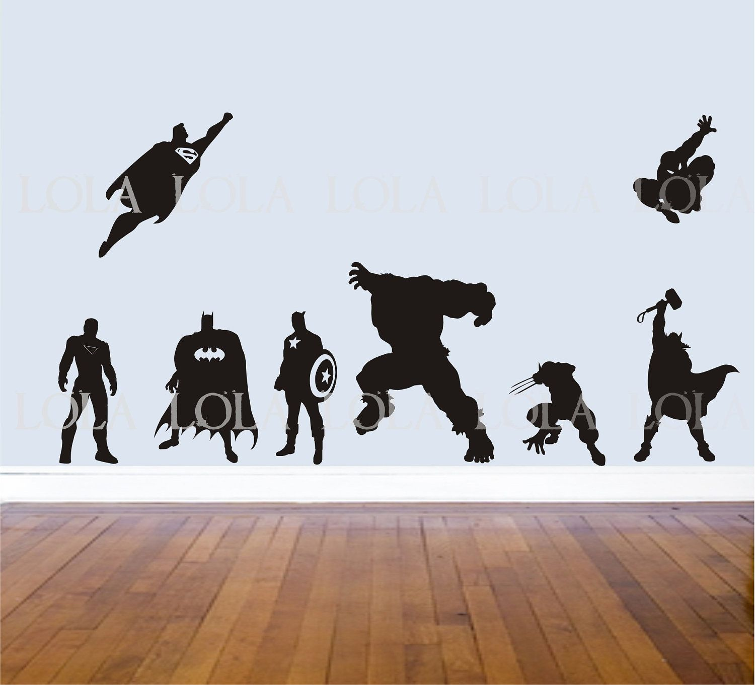 SUPERHERO WALL DECALS   Set Of 8   Avengers   Hulk   Captain America    Wolverine