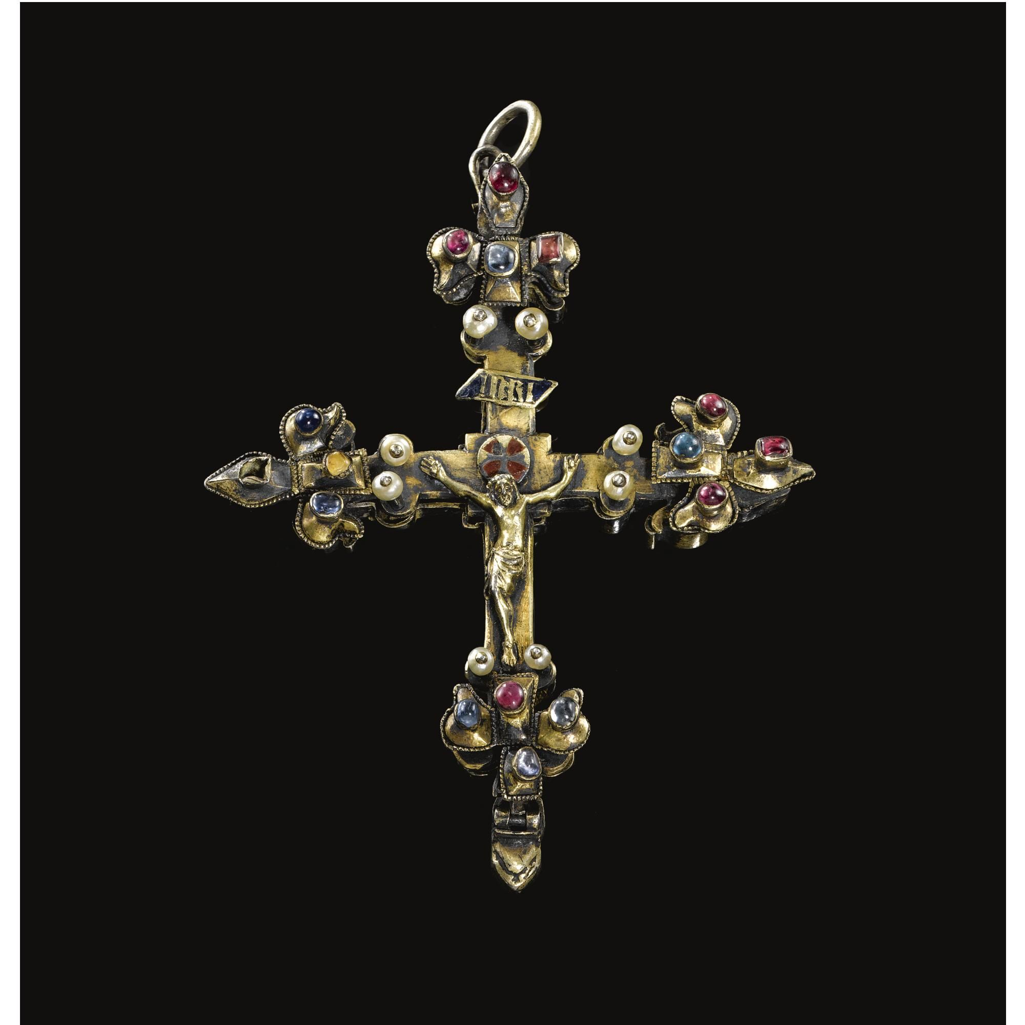 French second half 14th century pectoral cross silver enamelled french second half century pectoral cross silver enamelled and engraved on reverse with the lamb of god and the symbols of the four evangelists biocorpaavc Images