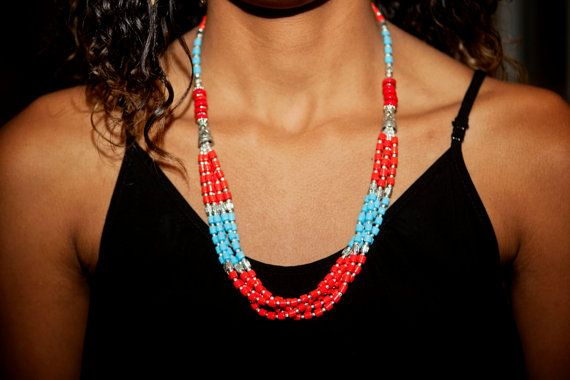 Bead Necklace Red Necklace Light blue necklace by LaMirraFashion, $17.60