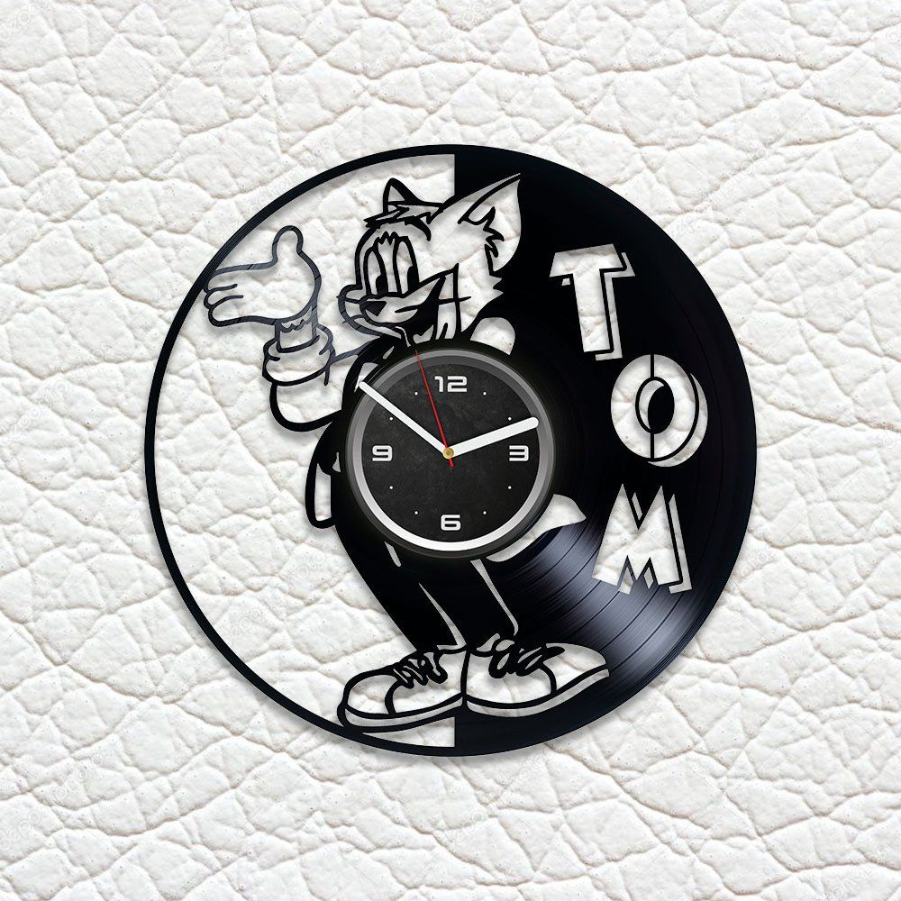Tom Clock Birthday Gift Idea For Kids Cat Art Lp Retro Vinyl Record Wall Clock Vintage Children Room Art Tom And Jerry C Vintage Wall Clock Kids Room Art Clock