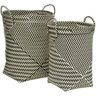 Buy Premier Housewares Woven Laundry Baskets - Black and ...