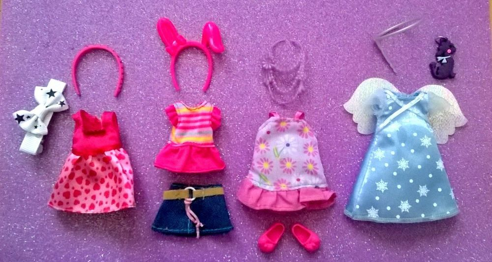 Lot Of Barbie Chelsea Kelly Doll Clothes Accessories Plus Shoes B