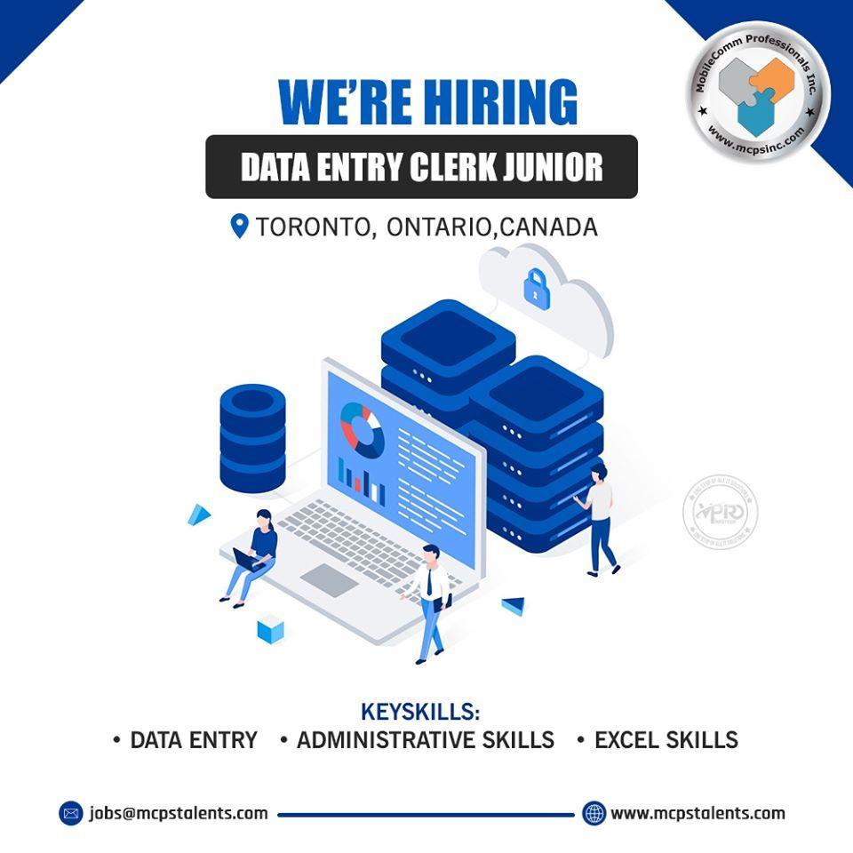 Hiring a data entry clerk junior in toronto in 2020