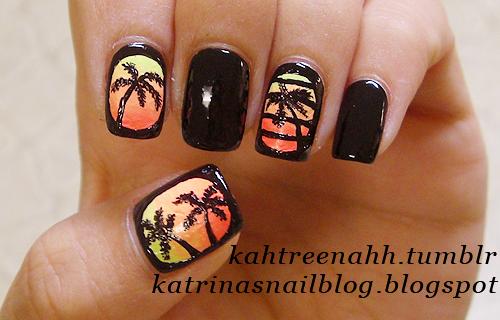 palm tree mani - flourescent polish