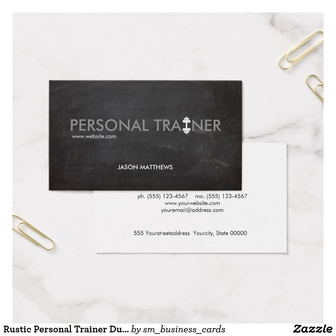 Rustic Personal Trainer Dumbbell Logo Fitness Business Card ...