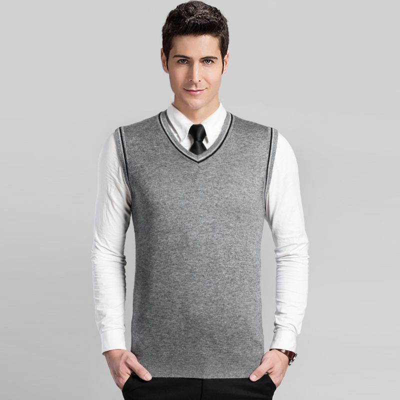 2016 New classic men v neck business office solid color cashmere ...