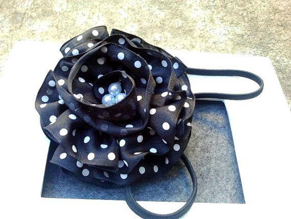 Black & White Polka dot ruffled flower by SewGurlyBowtique on Etsy, $8.00
