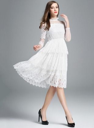 f688e0b3e082 White Lace Summer Dress-----------------As Picture Lace Solid 3 4 Sleeves  Knee-Length Dresses