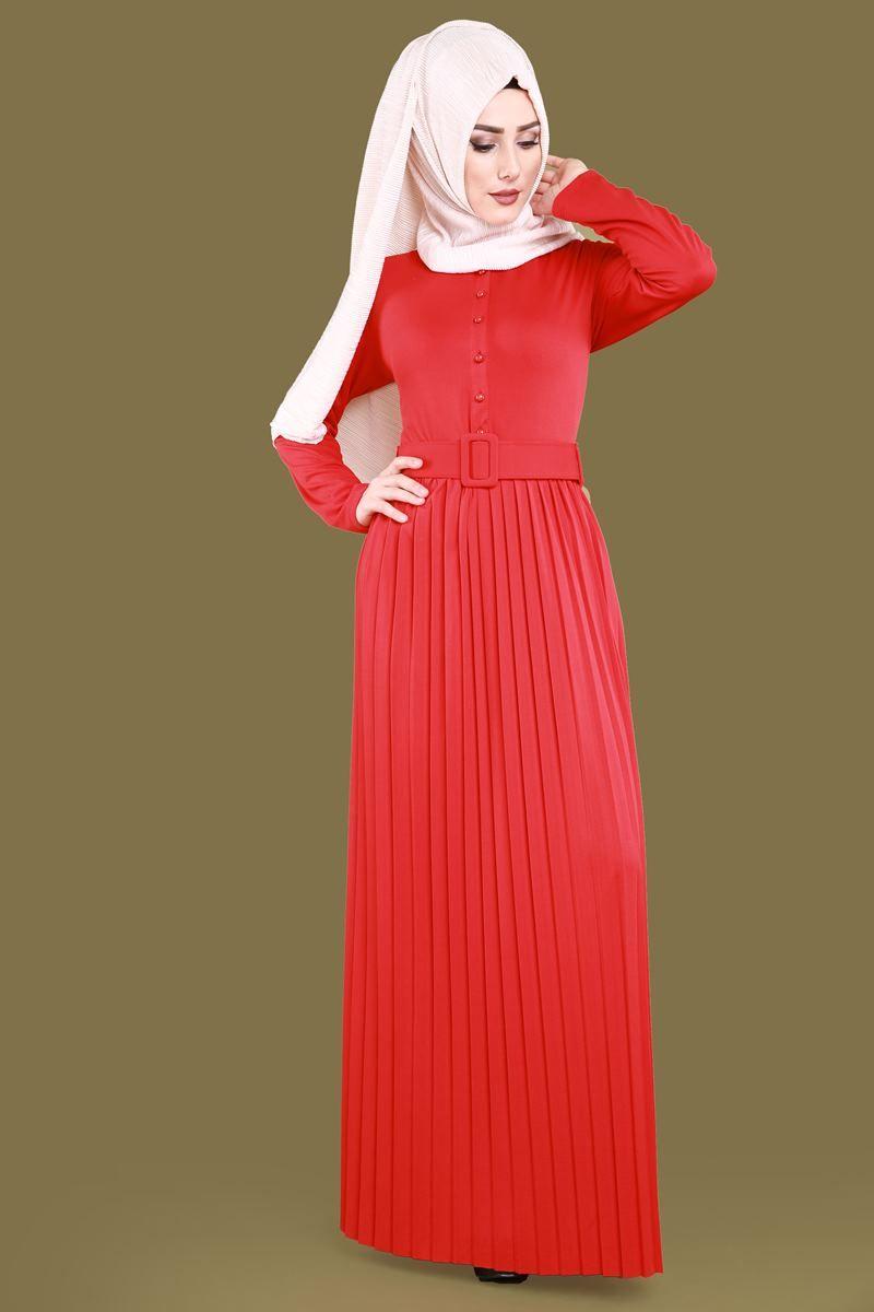 43345142b5f7f YENİ ÜRÜN ** Önden Düğmeli Tesettür Elbise Bordo Ürün kodu: BİSS7557 -->  59.90 TL