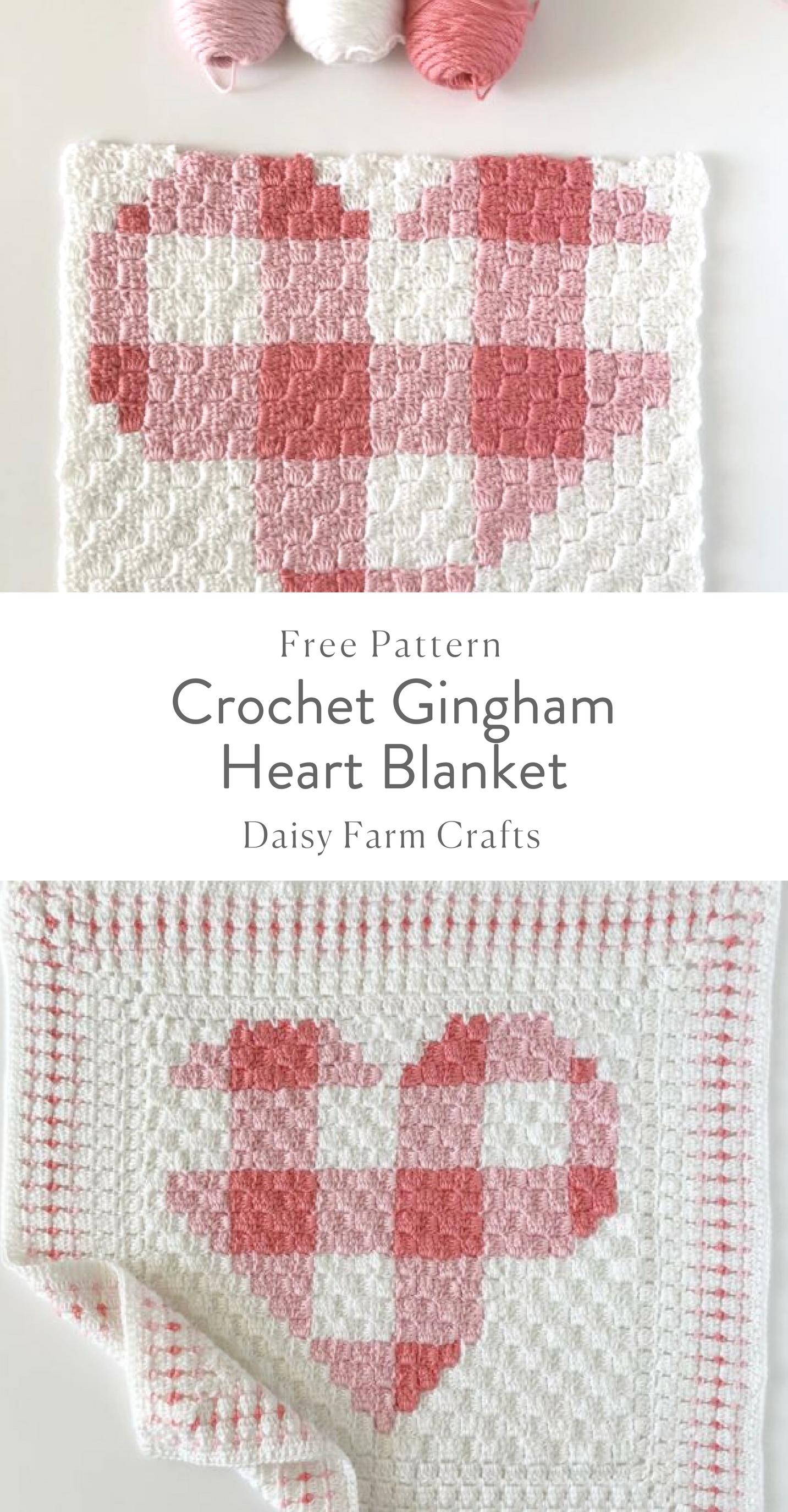 Free Pattern - Crochet Gingham Heart Blanket | yarn over | Pinterest ...