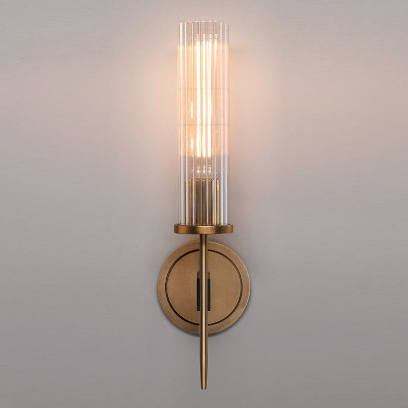 Modern Minimalist 1 Light Cylinder Clear Ribbed Glass Shade Wall