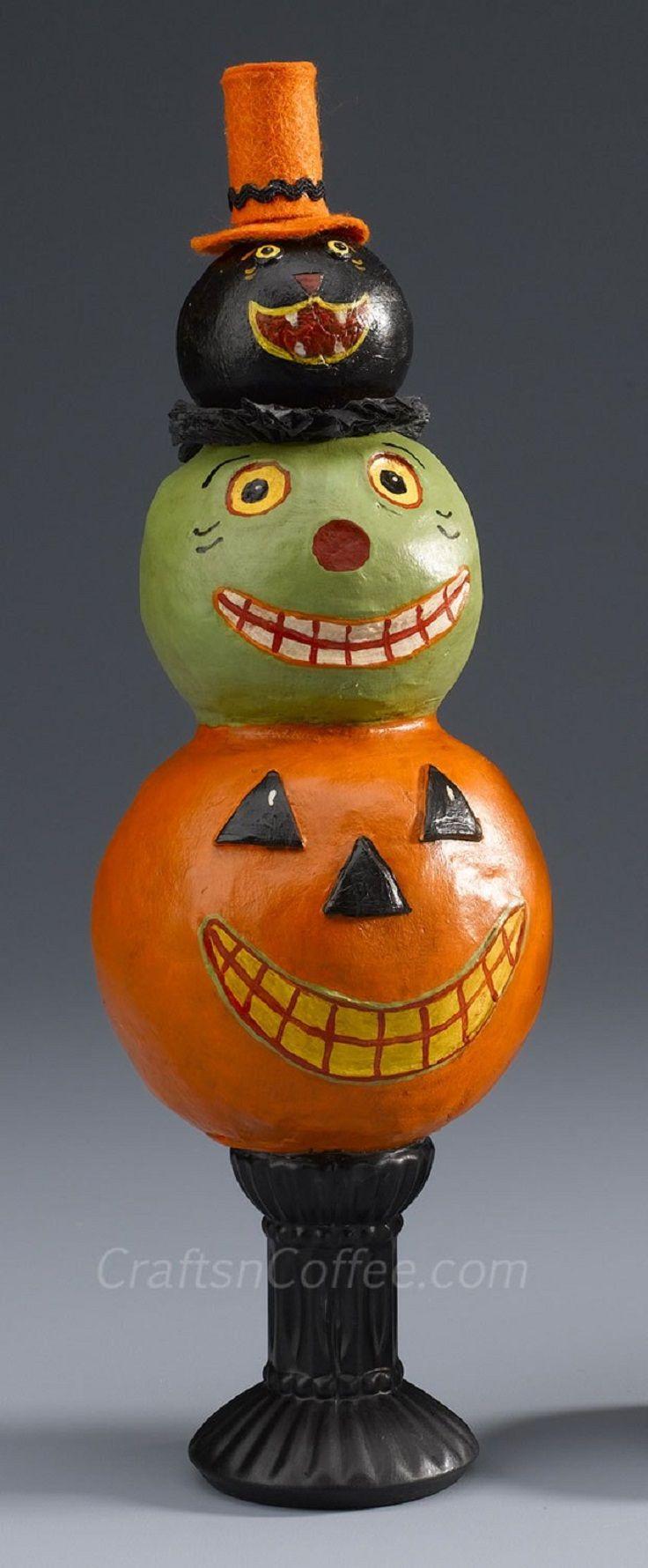 diy folk art halloween totem