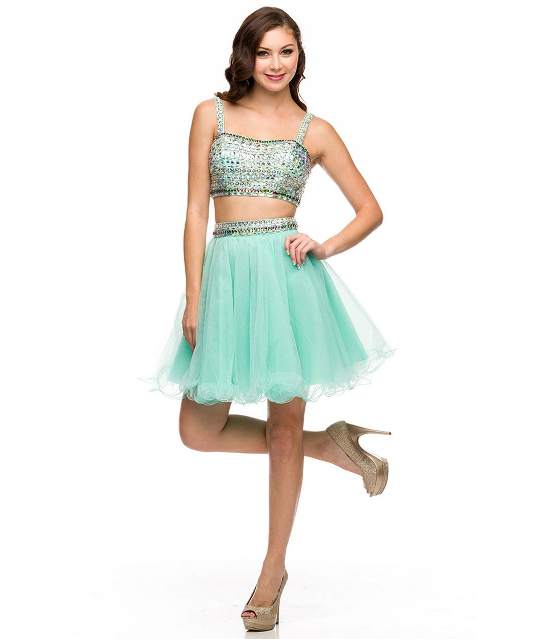 Mint u multicolor sequin two piece tulle dress prom dresses