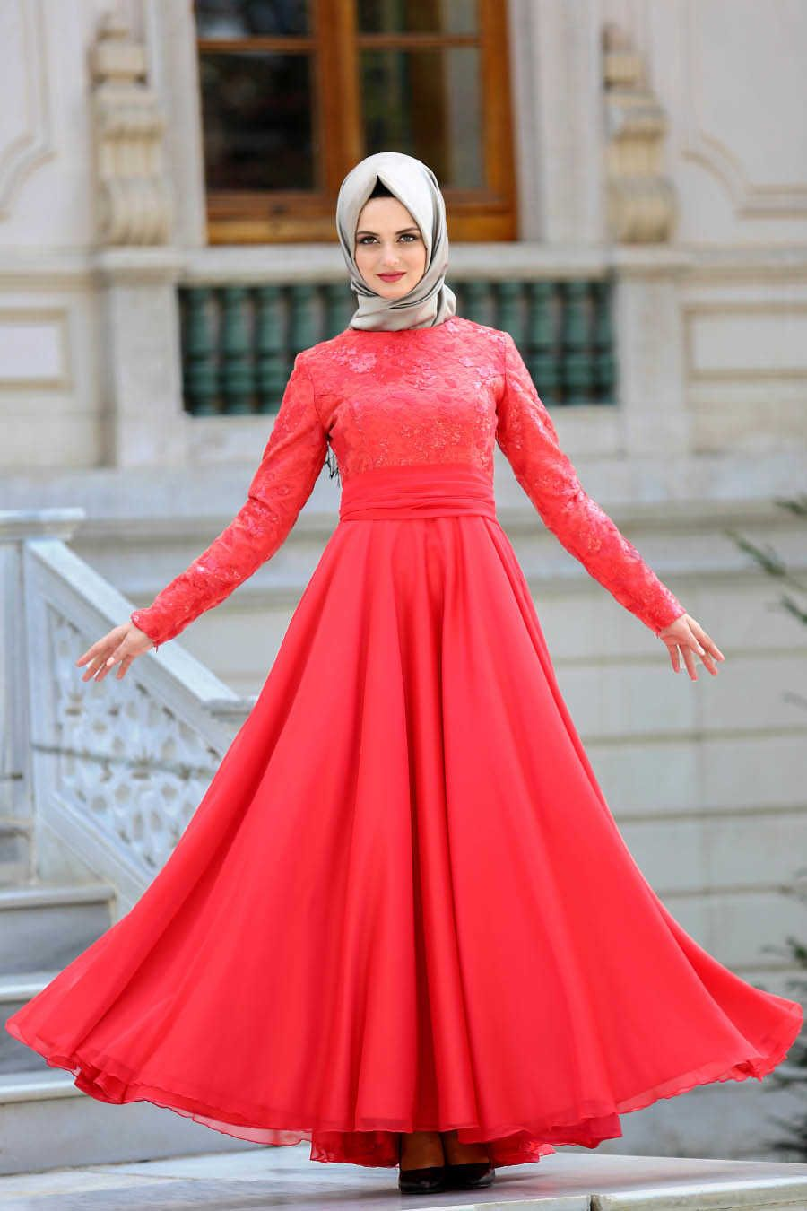 80af162a29ed1 Neva Style - Red Hijab Evening Dress 2389K | EVENING DRESS | Hijab ...