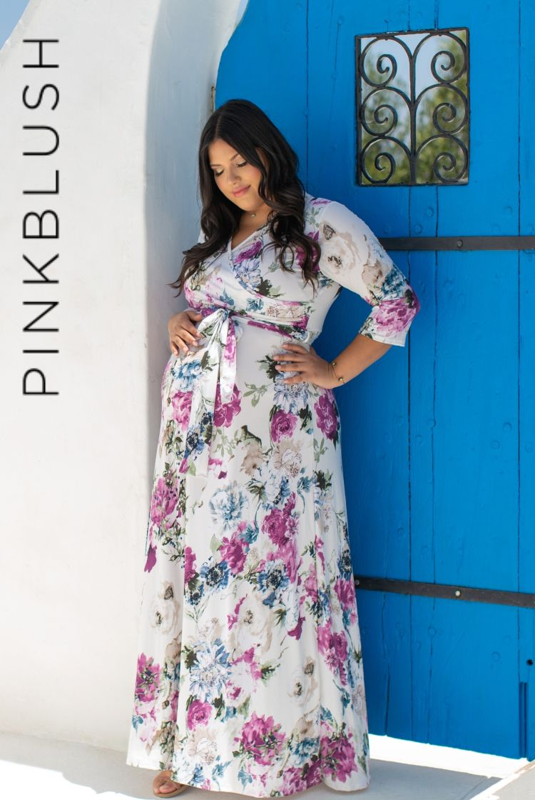82794ad62532 DETAILS: A floral printed plus size maternity maxi dress. V-neckline. Sash  tie. 3/4 sleeves.