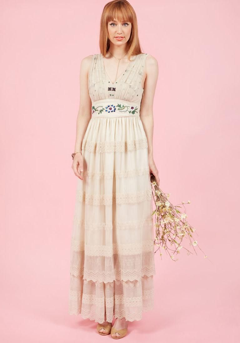 ModCloth - #ModCloth Open Devotion Maxi Dress in Rich Ivory ...