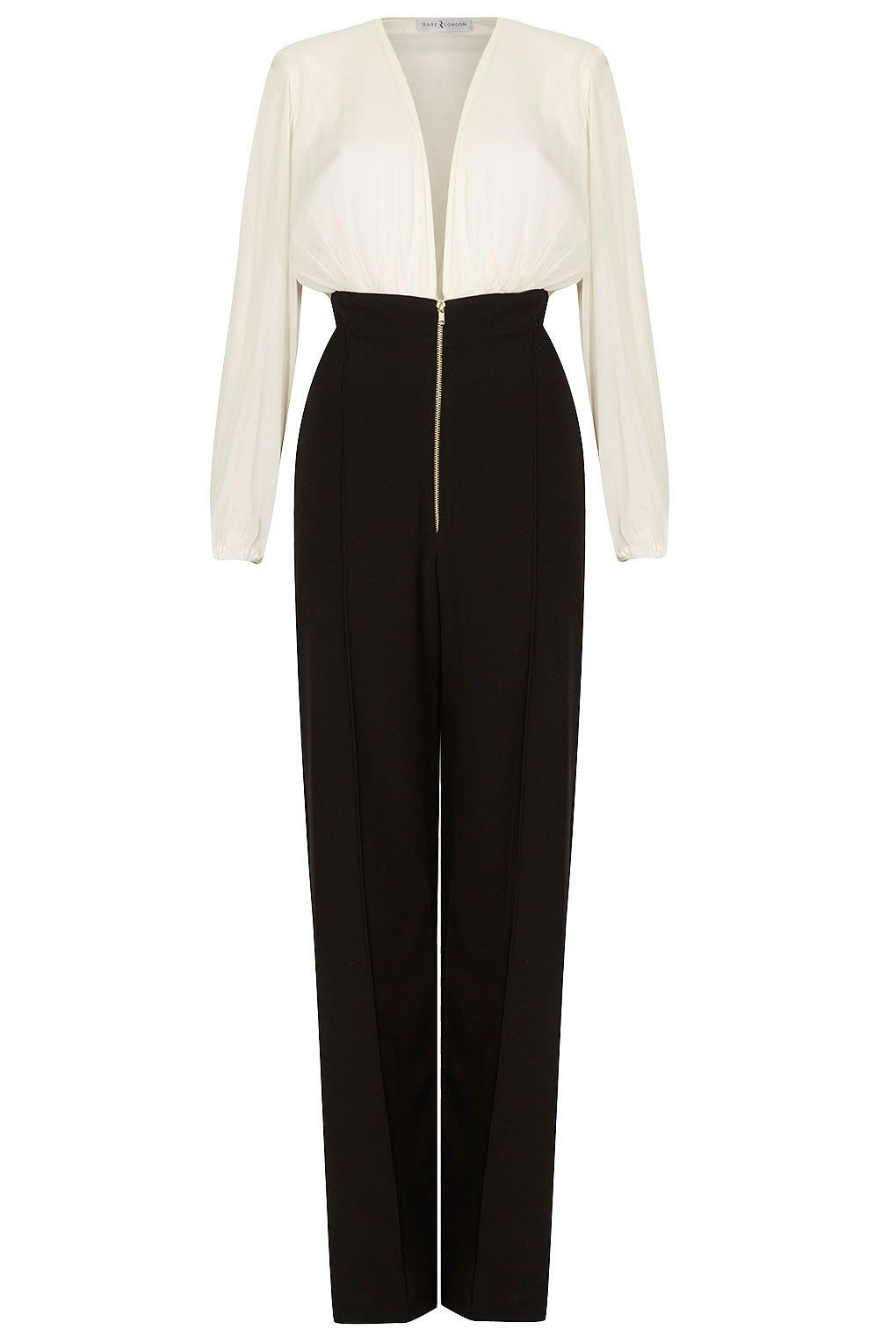 Contrast plunge neck jumpsuit by rare clothing brands clothing