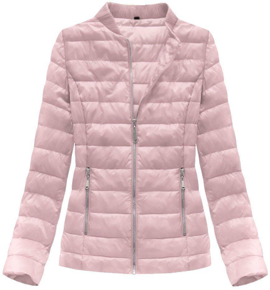 Pikowana Kurtka Ze Stojka Pudrowy Roz Pink Jacket
