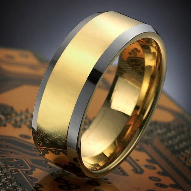 Stunning Mens Tungsten Ring Two Tone Wedding Band Gold