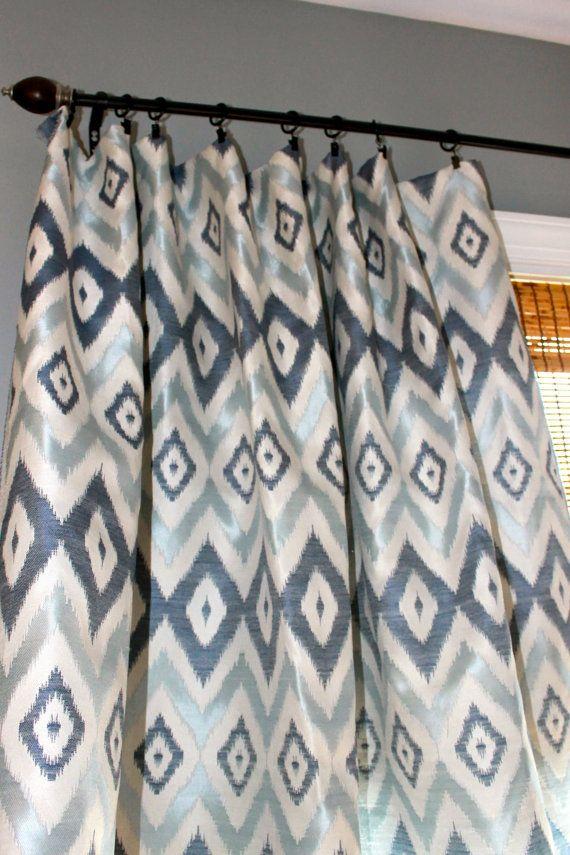 Navy Blue Light Blue And Ivory Ikat Curtain By StitchandBrush