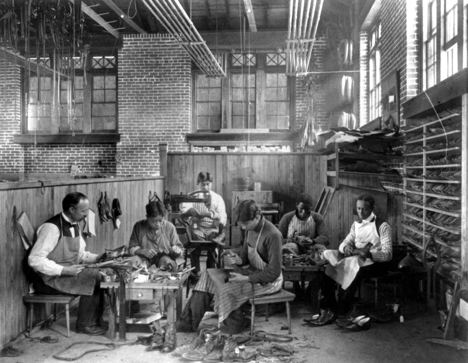 circa 1899 or 1900 trade school shoe making five men making trade school shoe making five men