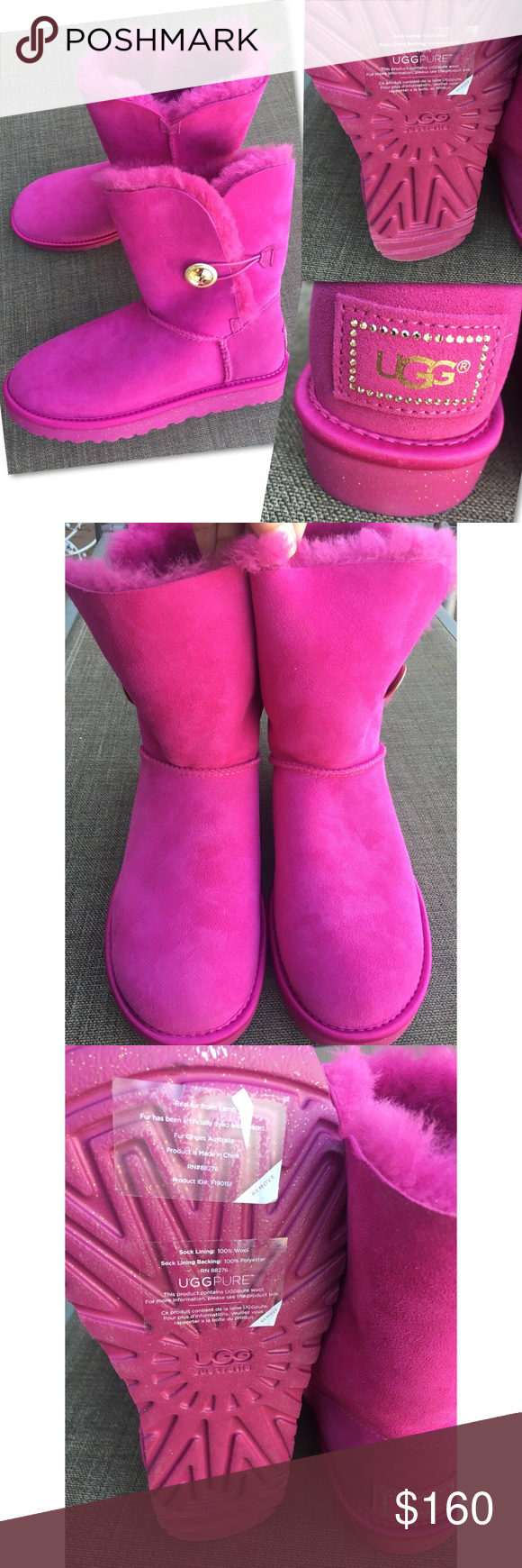 997774d8aa8 RARE NEW UGG BAILEY BUTTON BLING HOT PINK BOOTS 9 NEW WITHOUT BOX ...