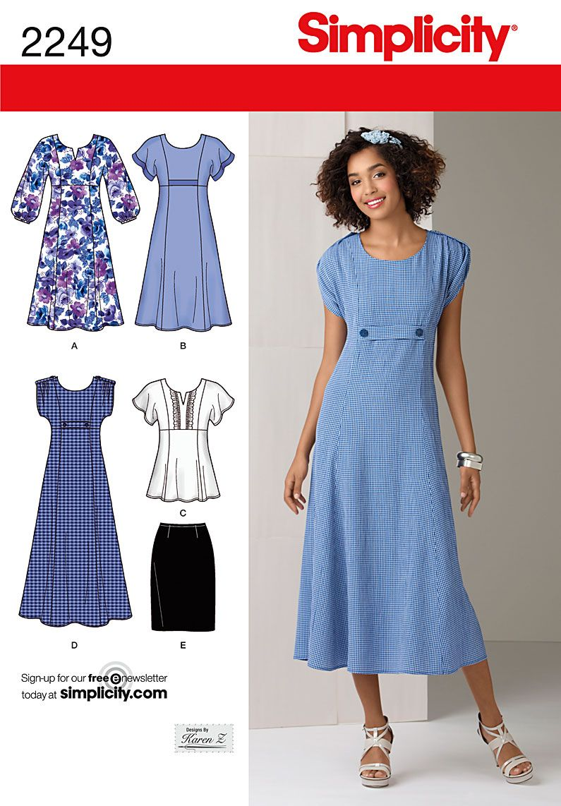 Simplicity 2249 grandma can you make this please pinterest simplicity designs by karen z pattern 2249 misses dress in 2 lengths tunic and skirt sizes simplicity misses plus size dress in two lengths or tunic and ombrellifo Images