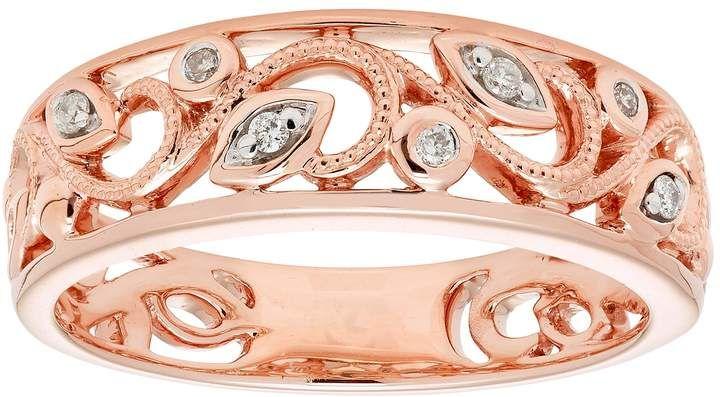 Boston Bay Diamonds 10k Rose Gold Diamond Accent Filigree Ring Rose Gold Diamonds Filigree Ring Gold