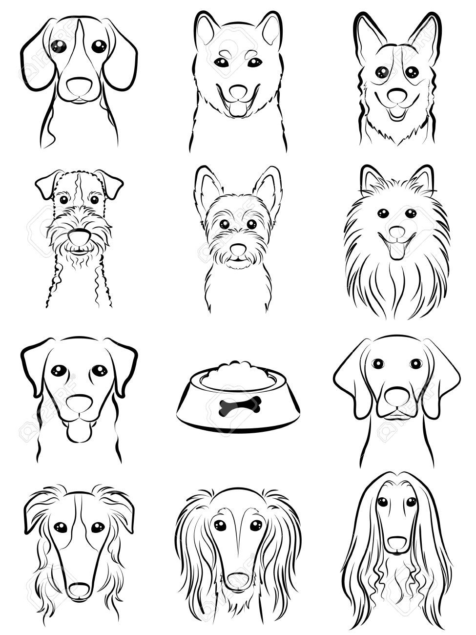 dog line drawing royalty free cliparts vectors and stock illustration image 31655862 - Free Line Drawings Of Animals
