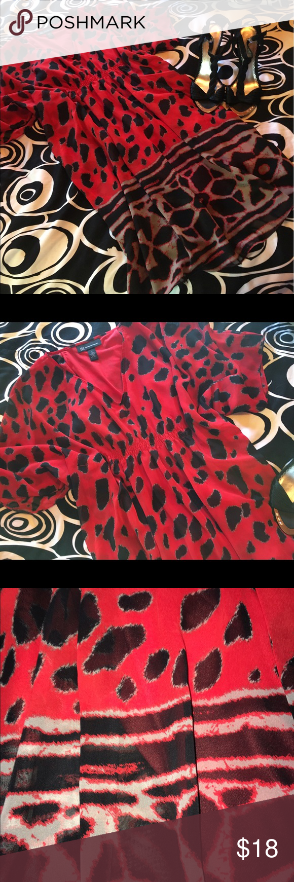 💋NEW RED FLOATY SLV MINI DRESS💋 💋GORGEOUS NWOT SEMI-SHEER MINI WITH FLOATY WIDE SLEEVES. CINCHED EMPIRE WAIST AND ATTACHED SLIP~GORGEOUS💋 Dresses Mini