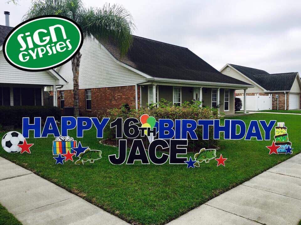 Happy 16th Birthday Yard Greetings By Sign Gypsies Louisville Http Www Signgypsies Com Lou Happy Birthday Yard Signs Birthday Yard Signs Happy 16th Birthday