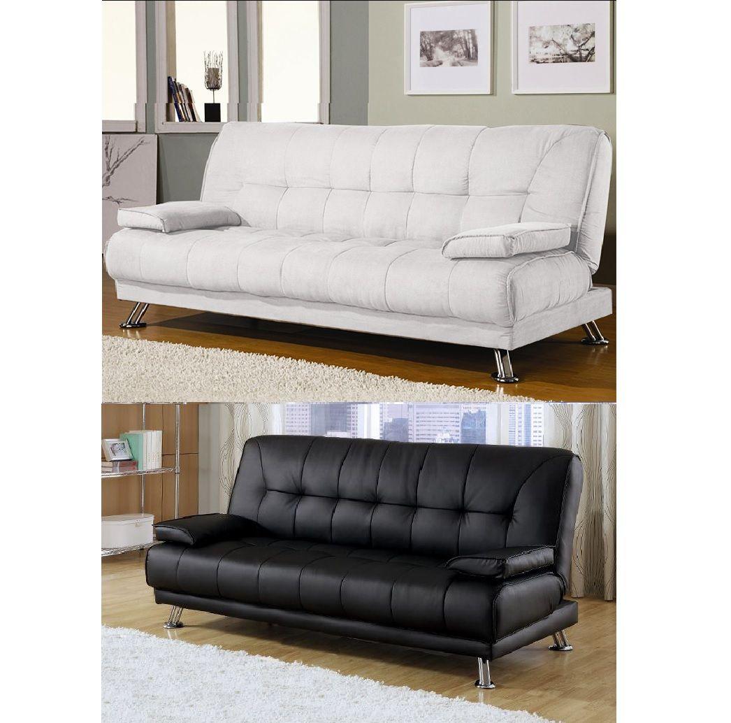 Divano letto Francesca 187x112x40 3 posti cuscini bianco