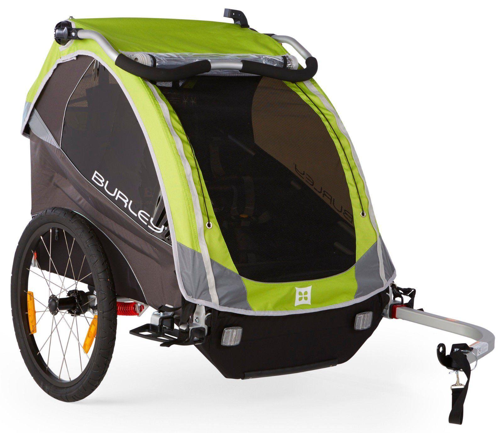 Burley D Lite Premium 1 or 2 Kids Child Bike Bicycle Trailer Wagon Green