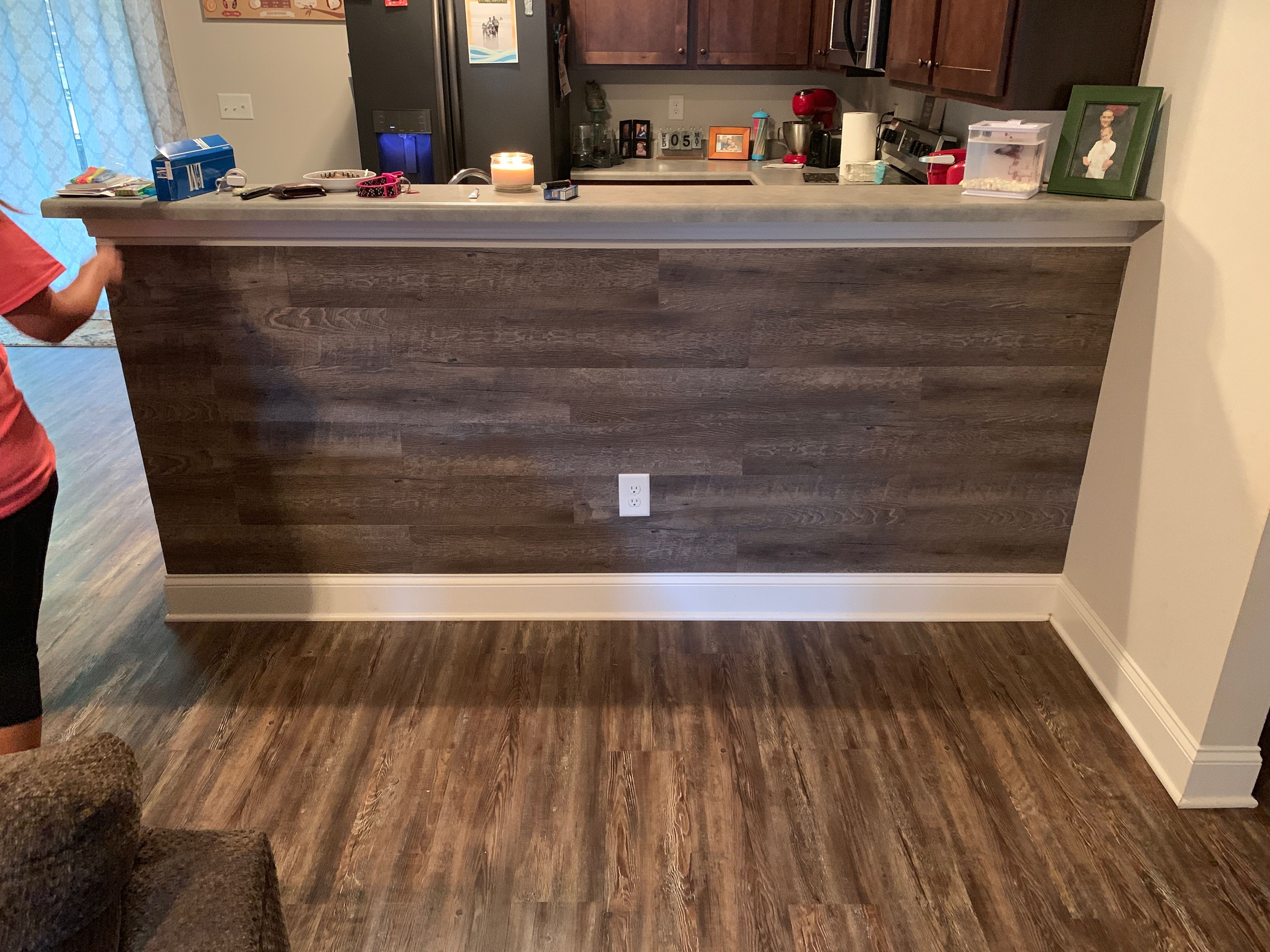 Made With Vinyl Flooring And Gorilla Glue Vinyl Flooring Wood Accent Wall Wood Accents