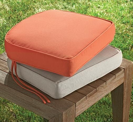 Thick Outdoor Cushions For Extra Comfort While Relaxing On The Patio Our Box Edge Contoured Chair Cus Outdoor Chair Cushions Outdoor Footstool Outdoor Ottoman
