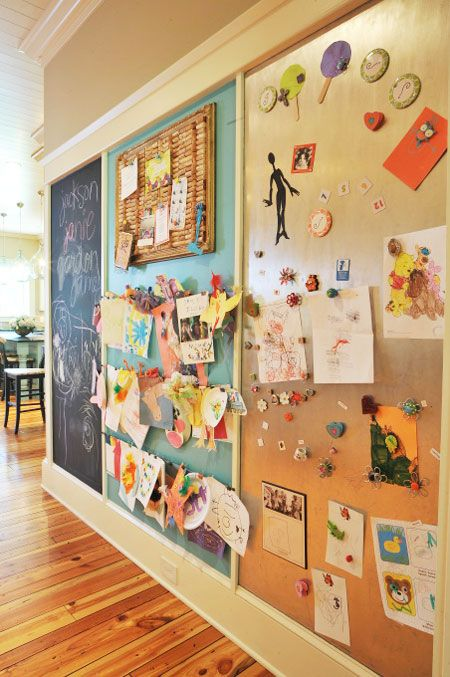 unusual design magnetic bulletin board. Design center  or kids art display chalkboard paint corkboard and magnet board Perfect for play room Ideas to Display Kid s Artwork This creative wall consists of a