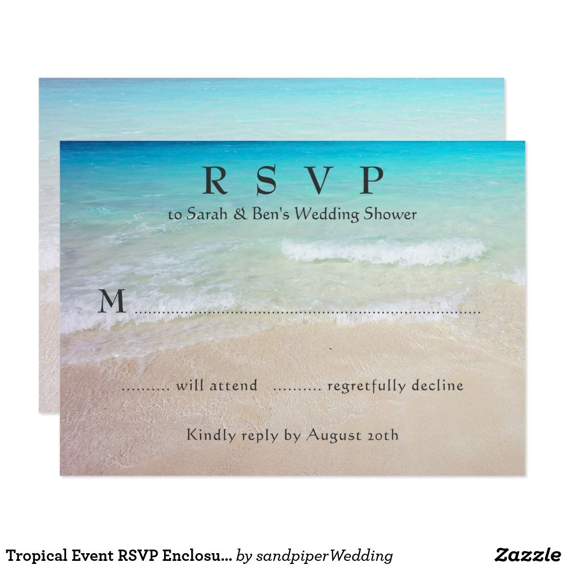 Tropical Event RSVP Enclosure Cards | Rsvp, Beach wedding ...