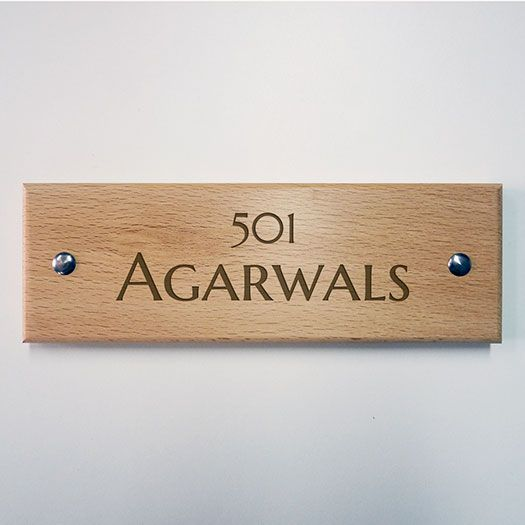 Simple Yet Elegant Wooden Name Plates For Your Apartment Available Delivery Across India