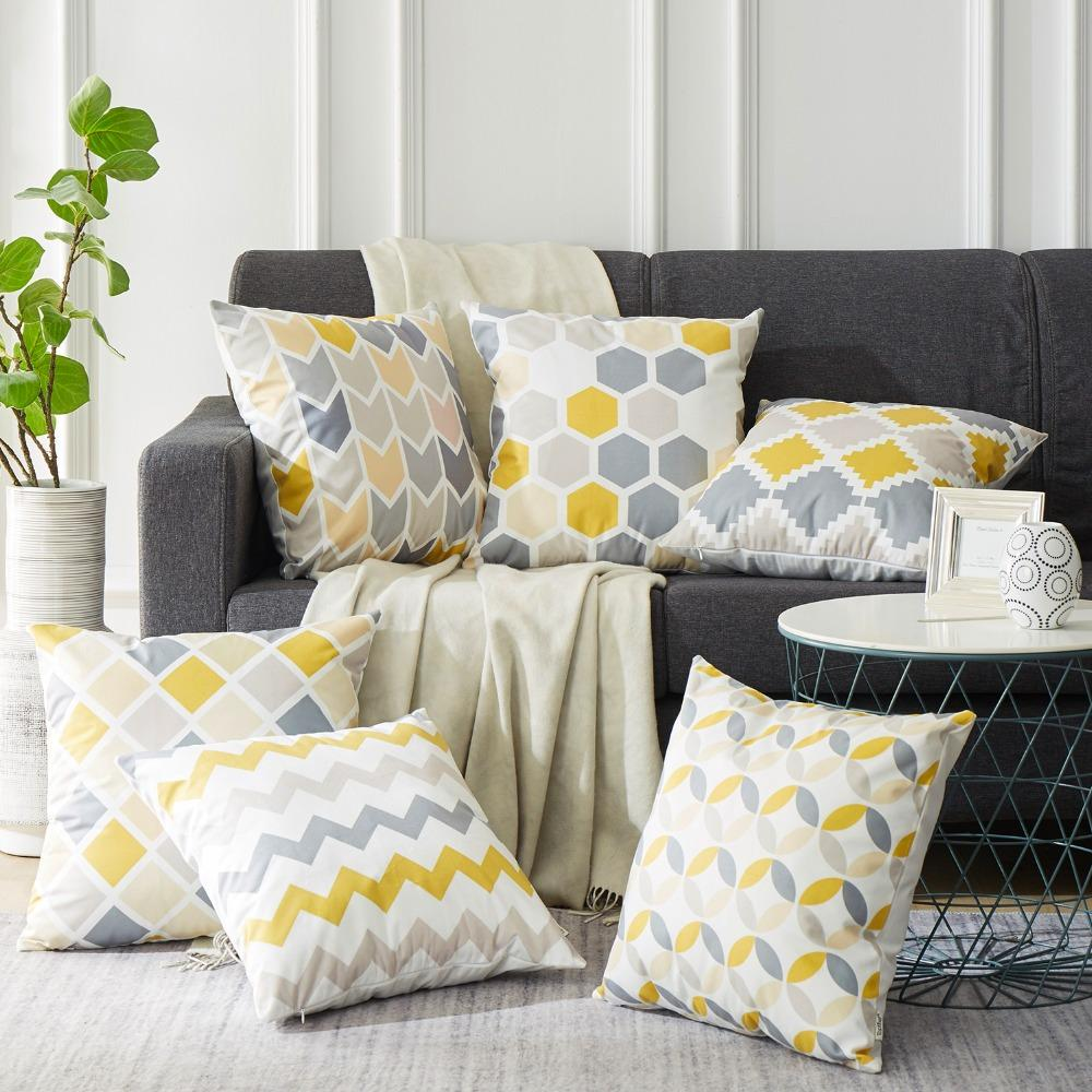 Grey Yellow Modern Geometric Decorative Throw Pillow Cases Home Decor Spirylife With Images Bed Pillows Decorative Geometric Cushions Pillows