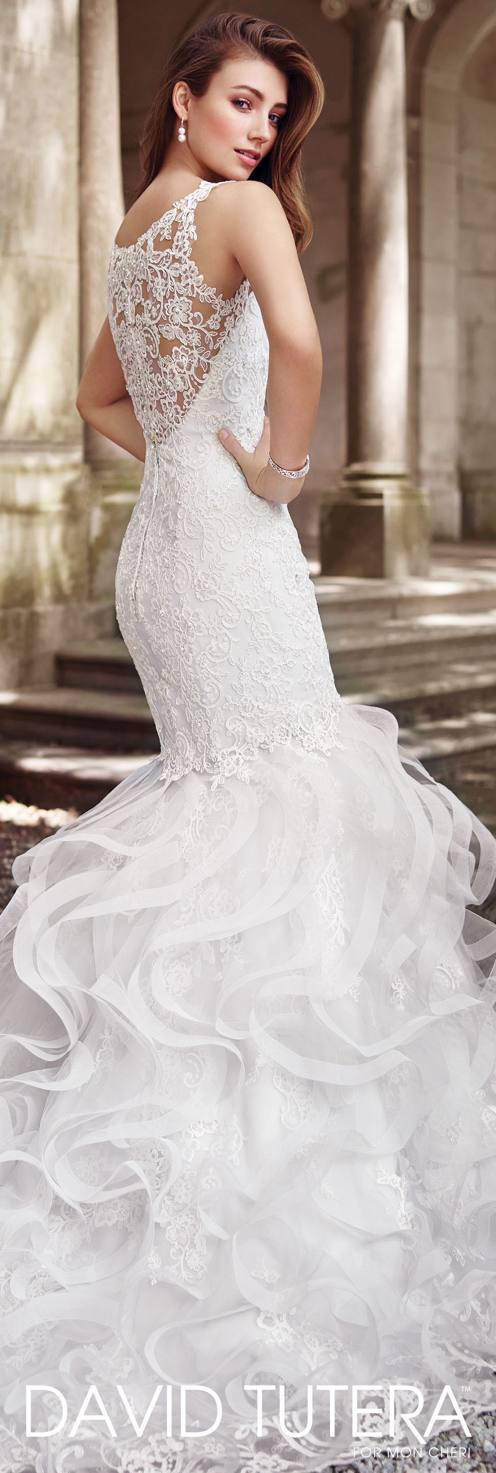 Wedding dresses with ruffles on skirt  Tulle u Lace Mermaid With Ruffled Skirt Wedding Dress  Peta