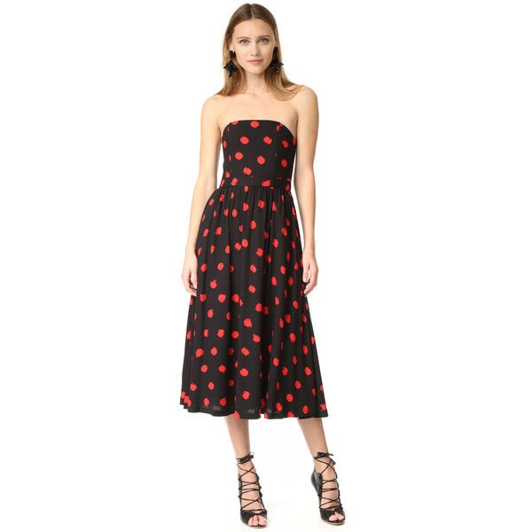 alice + olivia Belva Strapless Midi Dress ($195) ❤ liked on Polyvore featuring dresses, abstract dot, alice olivia dress, bone dress, abstract dress, strapless dresses and polka dot dress