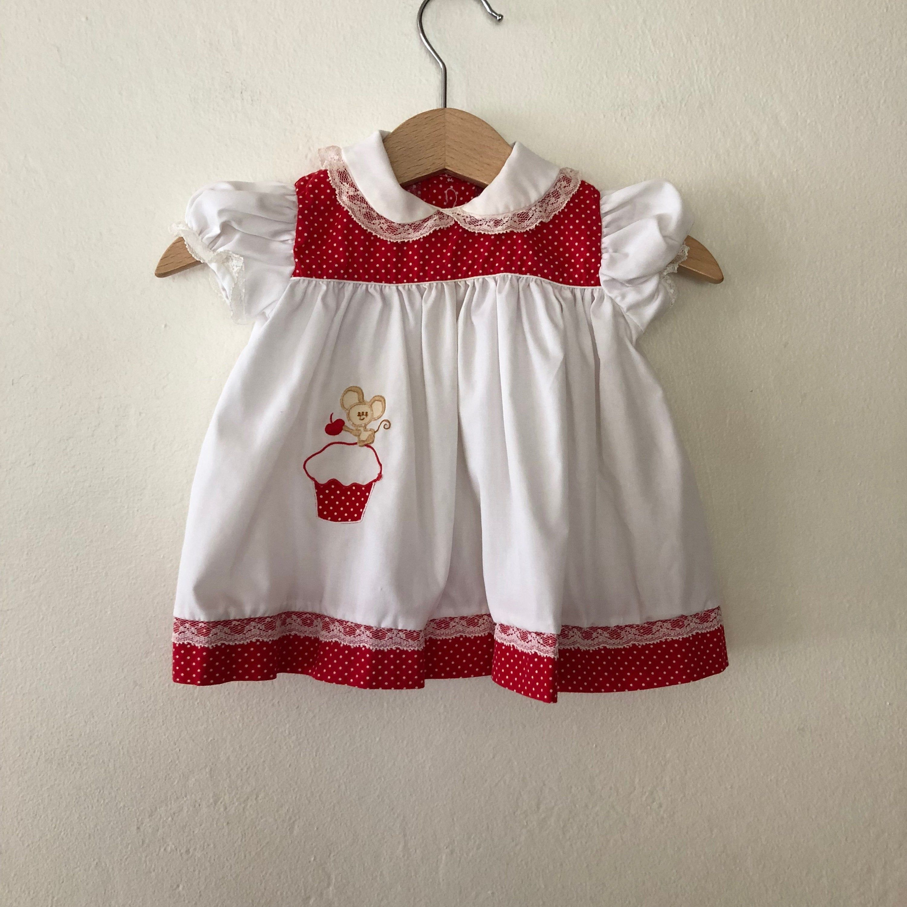 Pink Polka Dot Ruffled Dress 3-6 Months Vtg Baby Girls Embroidered Swiss Dot Pinafore Dress with Appliqued Ducks