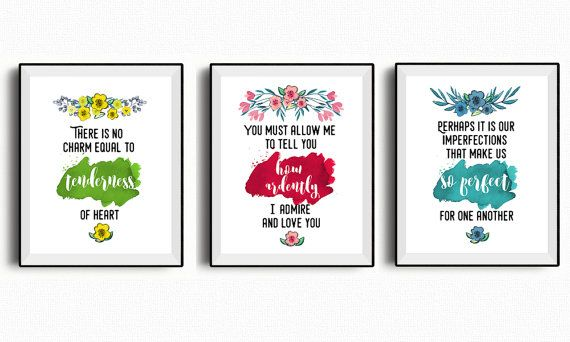 Jane Austen quote set of 3 printable quotes