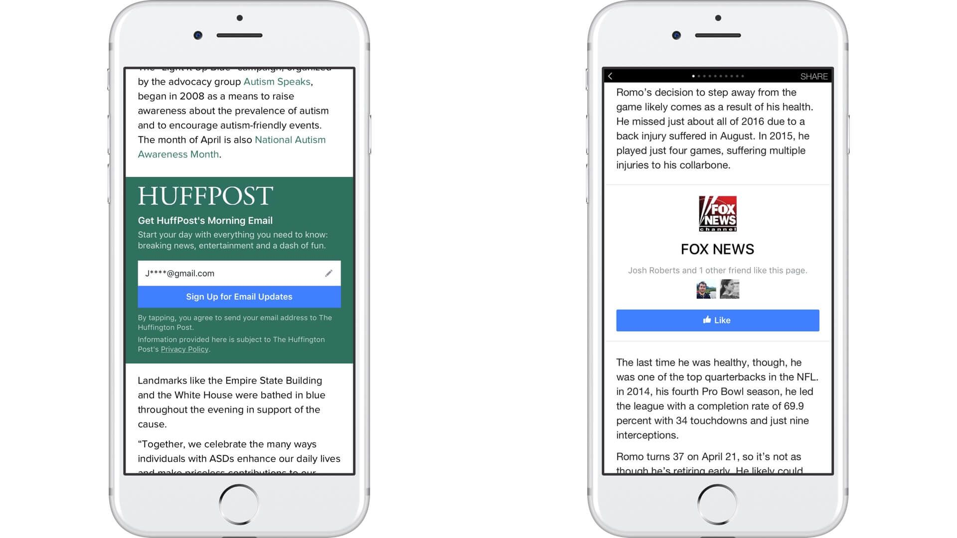 Facebook adds email signup & Page Like calltoaction